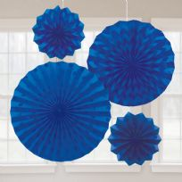Royal Blue Glitter Paper Fans (4)